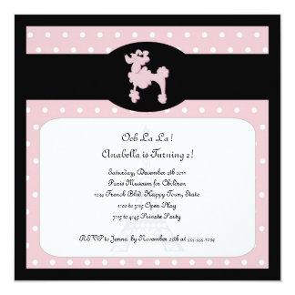 Caniches en la invitación rosada cuadrada de París