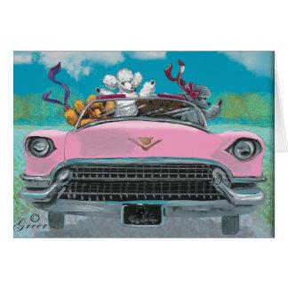 Caniches en tarjeta retra rosada de la impresión d