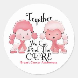 Caniches junto 2 del rosa del cáncer de pecho pegatinas redondas