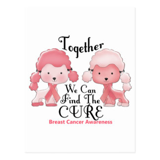 Caniches junto 2 del rosa del cáncer de pecho postal