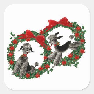 Caniches retros del navidad en guirnaldas pegatina cuadrada