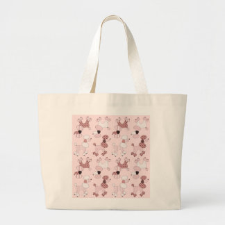 Caniches rosados en bolso del desfile bolsa tela grande