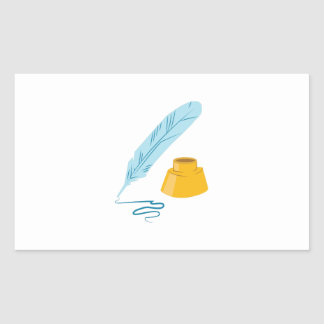 Canilla y tinta pegatina rectangular