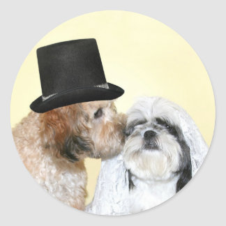 Canine Bride and Groom Classic Round Sticker