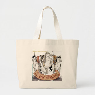 Canine Chivalry Funny Cartoon Large Tote Bag