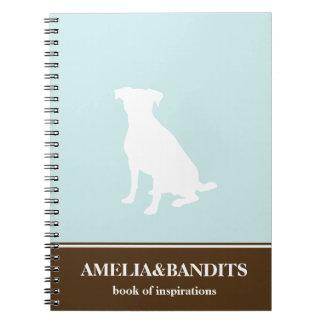 Canine dog pet silhouette blue inspiration journal notebooks