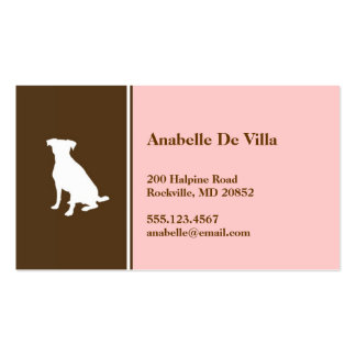 Canine dog pink brown pet personal calling card business card templates
