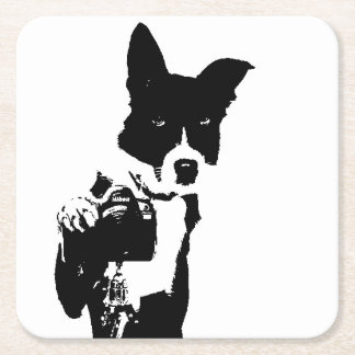 Canine Photographer Square Paper Coaster