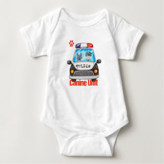 Canine Police Car with Officer and Dog Baby Bodysuit
