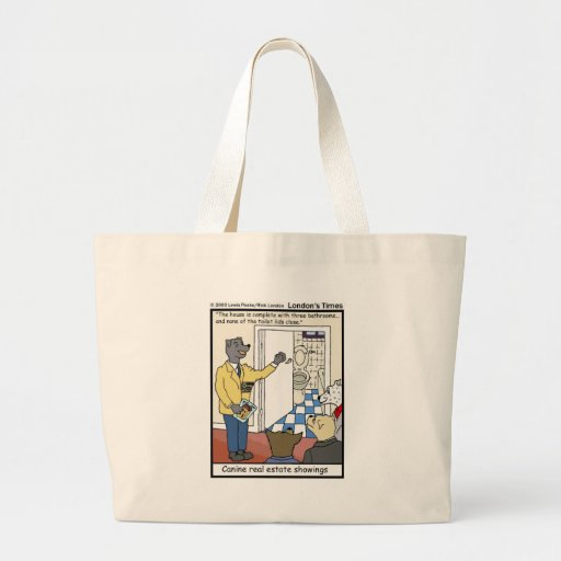Canine Real Estate Sales Funny Gifts & Tees Large Tote Bag