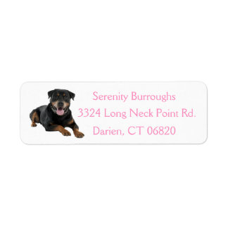 Canine Rottweiler Puppy Dog Pink Address Label