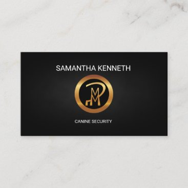 Canine Security Faux Gold Logo Security Consultant Business Card
