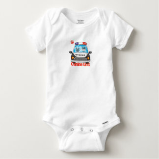 Canine Unit Policeman and Police Dog In Car Baby Onesie