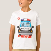 Canine Unit Policeman and Police Dog In Police Car T-Shirt