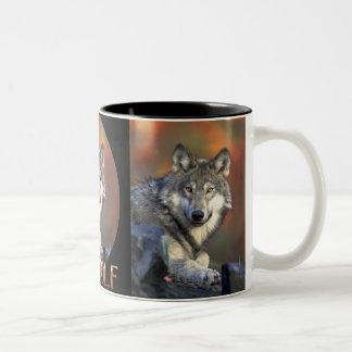 Canis Lupis del lobo gris de los lobos Taza De Dos Tonos