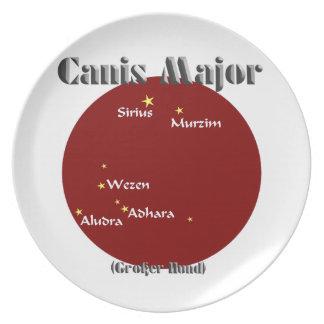 canis major dark red dinner plate