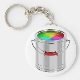 Canister with multicolor paint keychain