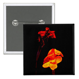 Canna Lilies on Black Pinback Button
