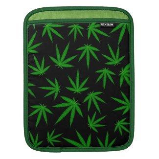 Cannabis leaves on black iPad sleeve