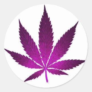 Cannabis Purple Classic Round Sticker
