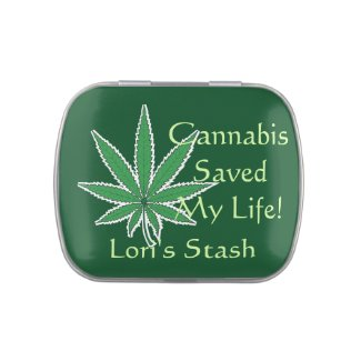 Cannabis Saved My Life Pot Leaf Green Candy Tin
