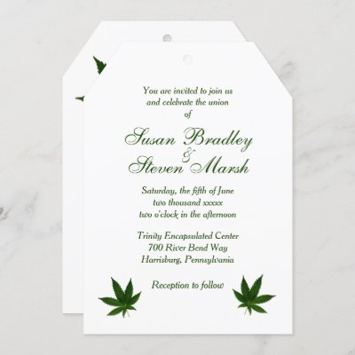 Cannabis White Green Text Wedding Invitation