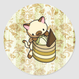 Cannelle Apple Kitty Classic Round Sticker