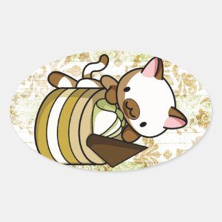 Cannelle Apple Kitty Oval Sticker