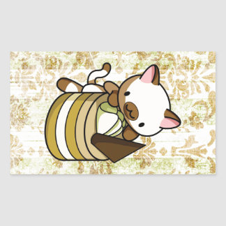 Cannelle Apple Kitty Rectangular Sticker