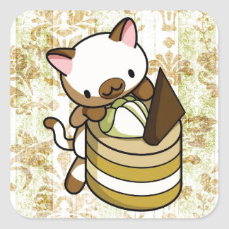 Cannelle Apple Kitty Square Sticker