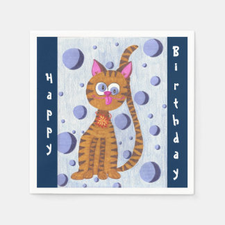 Cannelle the cat birthday cocktail paper napkins