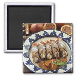 Canneloni di ricotta - Sicily - Italy For use 2 Inch Square Magnet