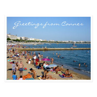 cannes beachside greetings postcard
