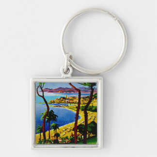 Cannes ~ Cote d'Azur Silver-Colored Square Keychain