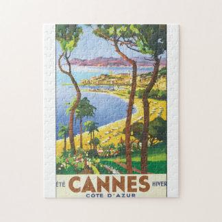 Cannes Cote D'Azur Vintage Travel Poster Jigsaw Puzzle