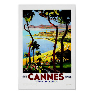 Cannes France Vintage Travel Poster