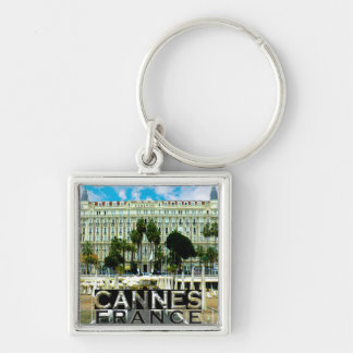 Cannes Silver-Colored Square Keychain