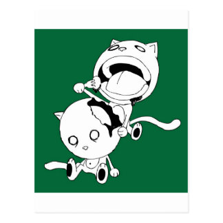 Cannibal Cat Green Postcard