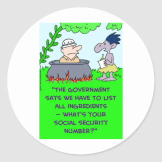 cannibal list ingredients social security number classic round sticker