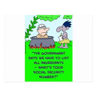 cannibal list ingredients social security number postcard