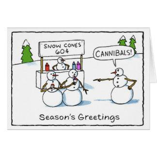 Cannibal Snowmen Funny Greeting Card