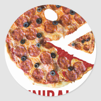 Cannibalism Pizza Eat Funny Food Classic Round Sticker