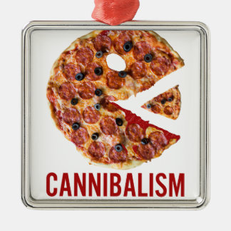 Cannibalism Pizza Eat Funny Food Metal Ornament