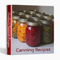 Canning Favorite Recipe 3 Ring Binder