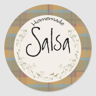 Canning Jar Label Vines & Leaves on Plaid Classic Round Sticker