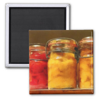 Canning Jars of Tomatoes and Peaches Fridge Magnet