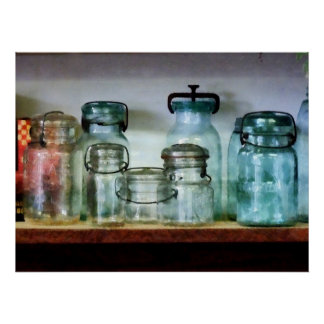 Canning Jars on Shelf Poster