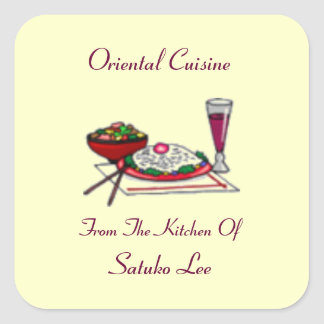 Canning Label for Oriental Food Customize Square Sticker