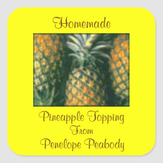 Canning Label for Pineapple Fruit or Cake Custom Square Sticker