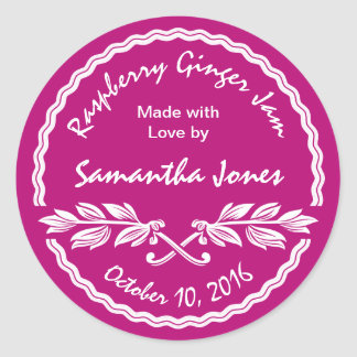 Canning Label Pink and White Classic Jam / Jelly Classic Round Sticker